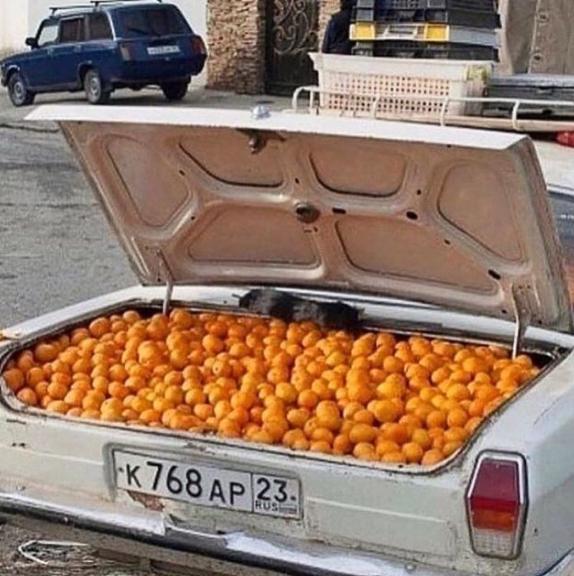 orange à jus dans la voiture