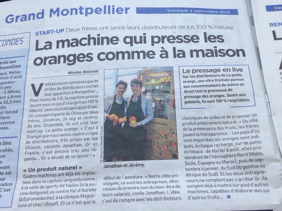 Article de presse du journal 20 minutes qui parle de La petite Orange